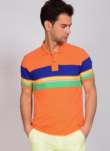 North Of Navy Polo Yaka Tişört Oranj